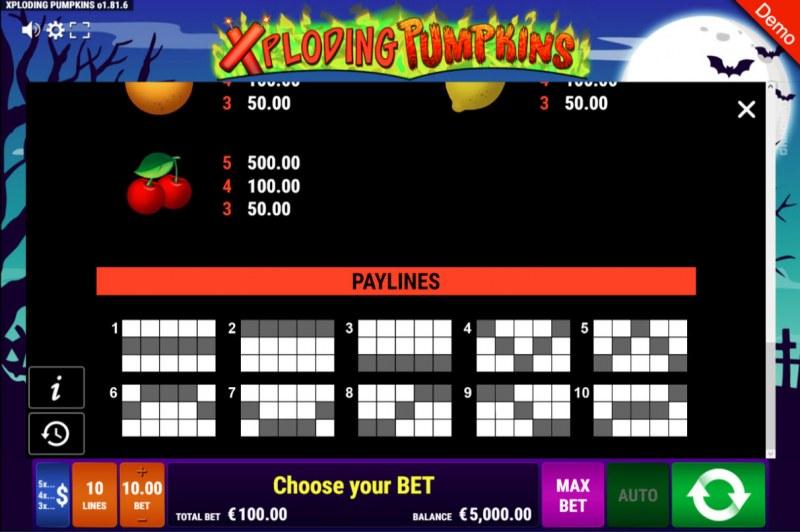 Xploding Pumpkins :: Paylines 1-10