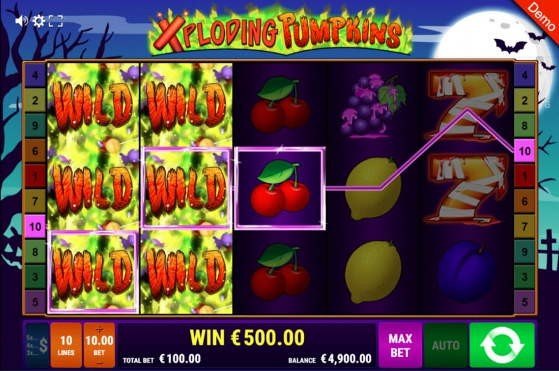 Xploding Pumpkins :: Wild feature triggers multiple winning paylines