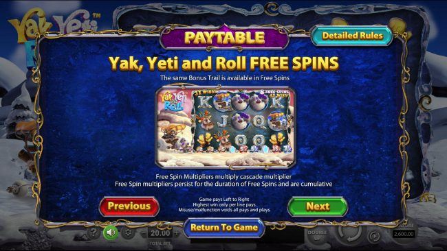 Yak Yeti and Roll :: Free Spins Rules