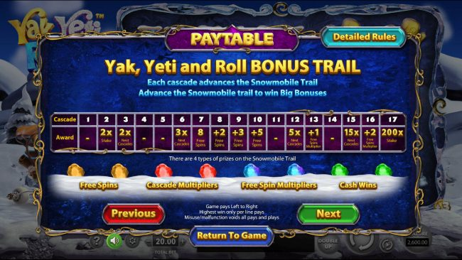 Play slots at Black Diamond: Black Diamond featuring the Video Slots Yak Yeti and Roll with a maximum payout of $92,750