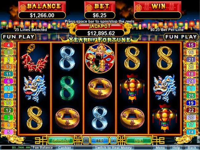 Play slots at Slots Inferno: Slots Inferno featuring the Video Slots Year of Fortune with a maximum payout of $444,440