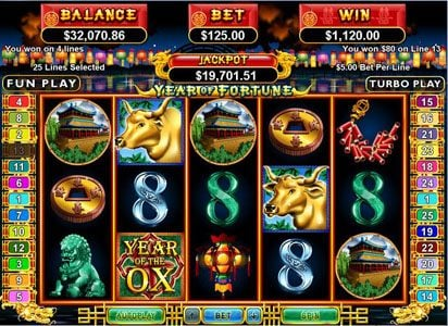 Play slots at High Noon: High Noon featuring the Video Slots Year of Fortune with a maximum payout of $444,440
