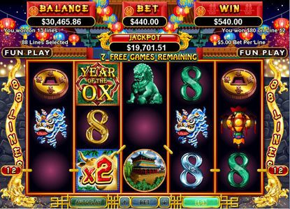Roaring 21 featuring the Video Slots Year of Fortune with a maximum payout of $444,440