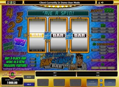 Casino Action featuring the Video Slots You Lucky Barstard with a maximum payout of $10,000