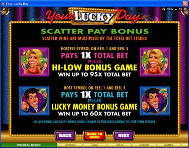 First Web featuring the Video Slots Your Lucky Day with a maximum payout of $50,000