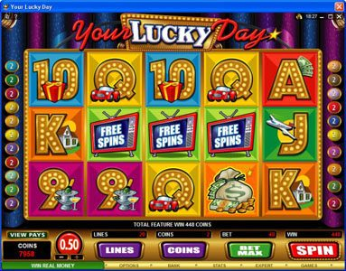 Chanz featuring the Video Slots Your Lucky Day with a maximum payout of $50,000