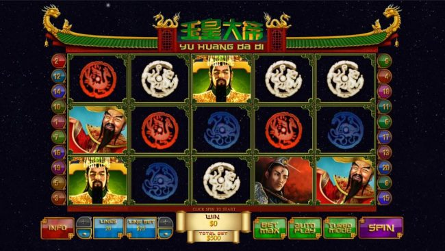 Yu Huang Da Di :: Main game board featuring five reels and 20 paylines with a $1,000,000 max payout.