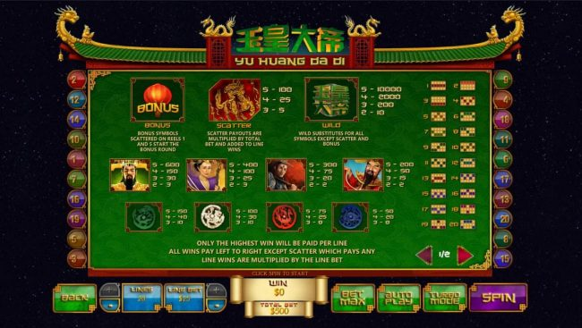 Yu Huang Da Di :: Slot game symbols paytable and Payline Diagrams 1-20.