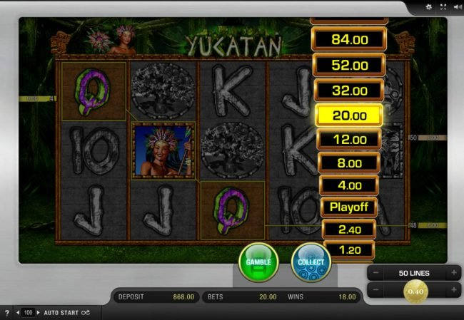 Energy featuring the Video Slots Yucatan with a maximum payout of $10,000