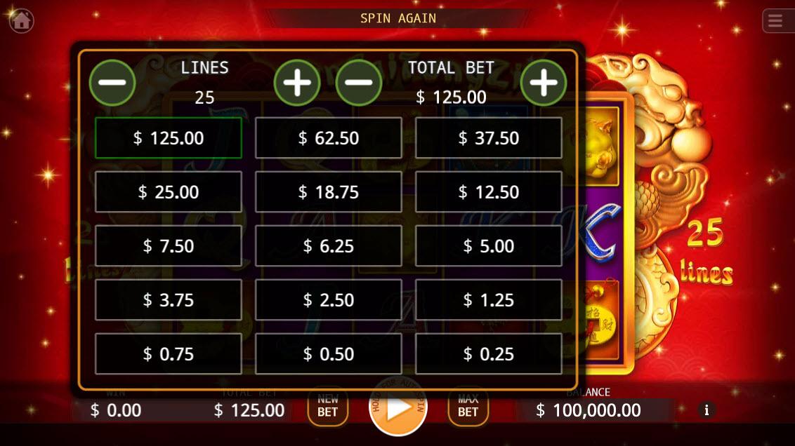 Yun Cai Tong Zi :: Available Betting Options