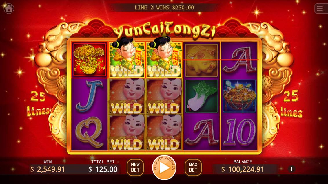 Yun Cai Tong Zi :: Stacked wild symbols triggers multiple winning paylines