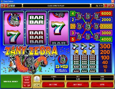 Golden Tiger featuring the Video Slots Zany Zebra with a maximum payout of $30,000