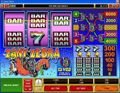 Casino Kingdom featuring the Video Slots Zany Zebra with a maximum payout of $30,000