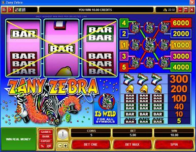 Slots Million featuring the Video Slots Zany Zebra with a maximum payout of $30,000