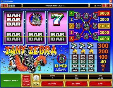 King Neptunes featuring the Video Slots Zany Zebra with a maximum payout of $30,000