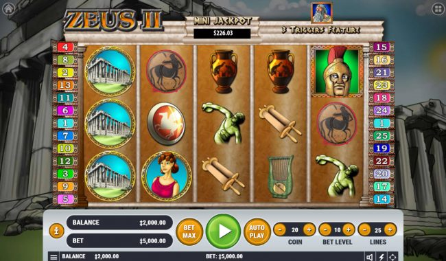 Play slots at Yoyo: Yoyo featuring the Video Slots Zeus 2 with a maximum payout of $2,500,000