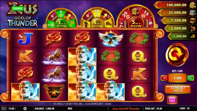 Zeus God of Thunder :: Main game board featuring five reels and 30 paylines with a $250,000 max payout.