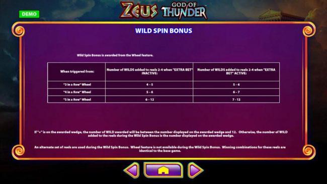 Zeus God of Thunder :: Wild Spin Bonus Rules