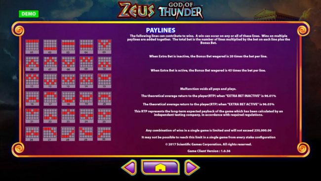 Zeus God of Thunder :: Payline Diagrams 1-30 and the theoretical return to player for this game is 96.05