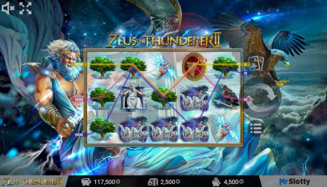 All Wins Casino featuring the Video Slots Zeus the Thunderer II with a maximum payout of $200,000