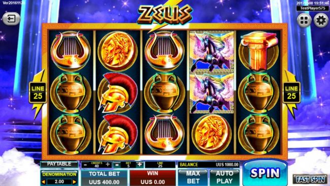 Zeus :: Main game board featuring five reels and 25 paylines with a $20,000 max payout.