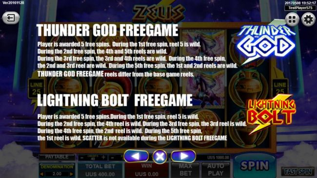 Zeus :: Thunder God Free Games and Lightning Bolt Free Games Rules