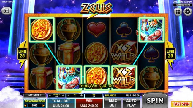 Zeus :: A winning Five of a Kind triggers a 240.00 payout.
