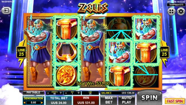 Zeus :: Dual Stacked Wilds on reels 1 and 3 triggers a 531.00 jackpot.
