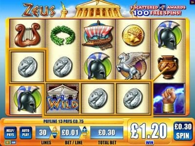 EU Casino featuring the Video Slots Zeus with a maximum payout of $2,500
