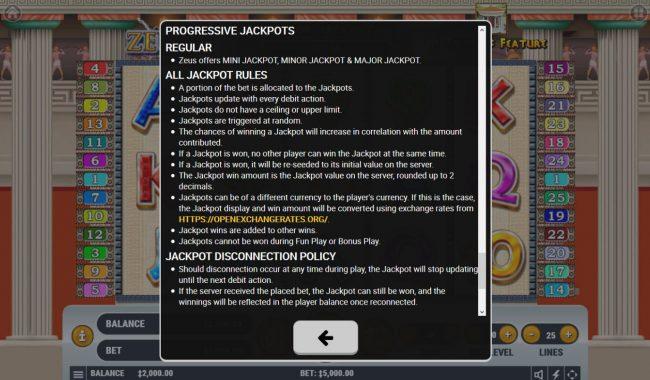 Zeus :: Progressive Jackpot Rules