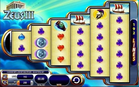 Zeus III :: Main game board featuring six reels and 192 paylines with a $800 max payout