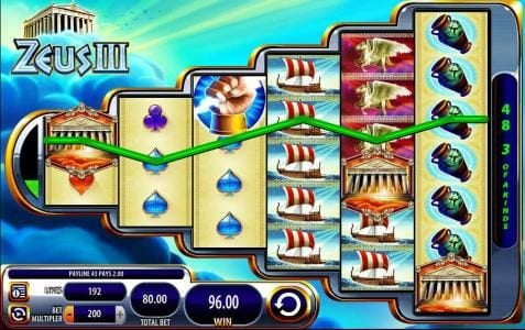 Zeus III :: Three of a kind triggers a 96.00 payout