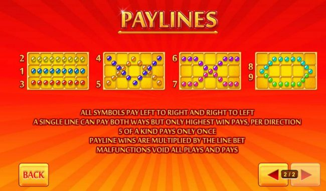 Payline Diagrams 1-9. All symbols pay left to tright and right to left.