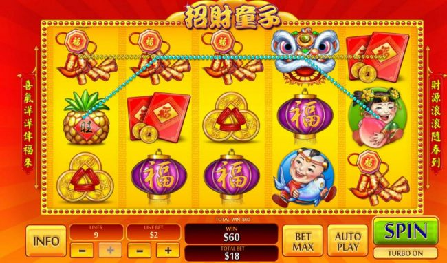 Play slots at Vernons: Vernons featuring the Video Slots Zhao Cai Tong Zi with a maximum payout of $1,000,000