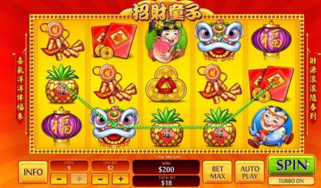 A Four of a Kind leads to a 200.00 jackpot