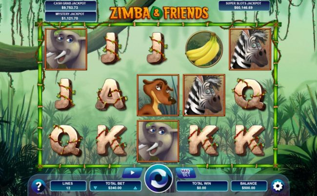 A safari themed main game board featuring five reels and 12 paylines with a progressive jackpots max payout