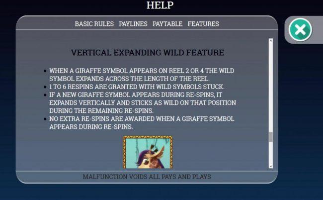 Vertical Expanding Giraffe Wild Symbol Rules