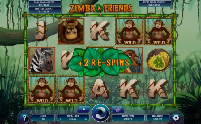Monkey wild feature will award 1 to 6 re-spins.