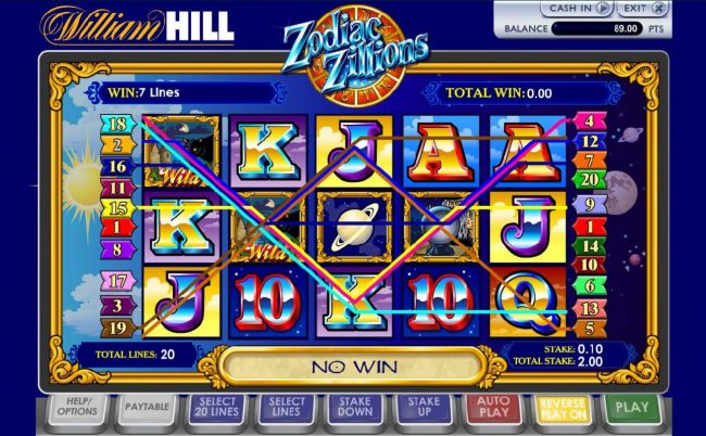 21 Nova featuring the Video Slots Zodiac Zillions with a maximum payout of $100,000