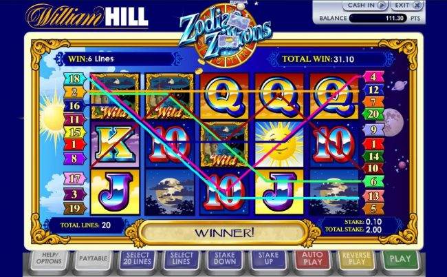 Betfair featuring the Video Slots Zodiac Zillions with a maximum payout of $100,000