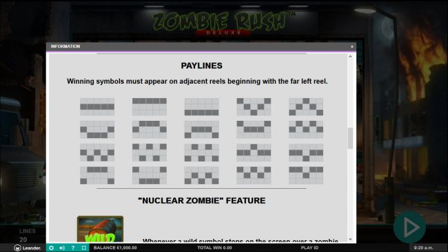 Casino-X featuring the Video Slots Zombie Rush Deluxe with a maximum payout of $100,000