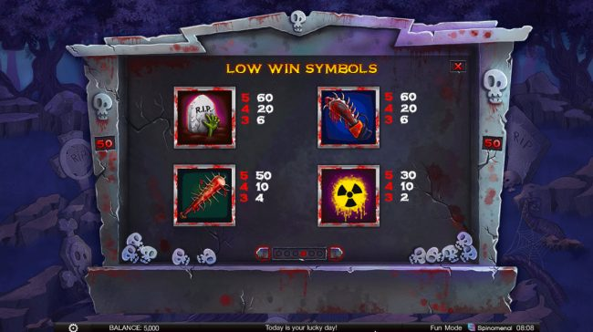 24 Vip featuring the Video Slots Zombie Slot Mania with a maximum payout of $60,000