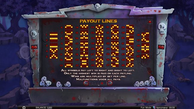 Zombie Slot Mania :: Paylines 1-50