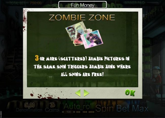 Play Million featuring the Video Slots Zombie Bar with a maximum payout of $7,500