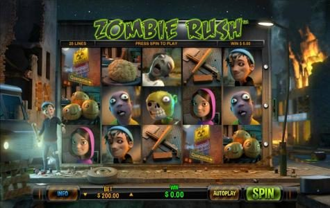 Maxino featuring the Video Slots Zombie Rush with a maximum payout of $15,000