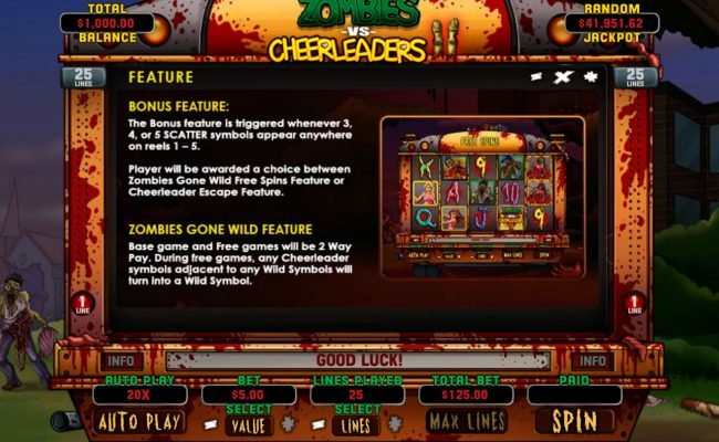 Play slots at Planet7 Oz: Planet7 Oz featuring the Video Slots Zombies vs Cheerleaders II with a maximum payout of $5,000