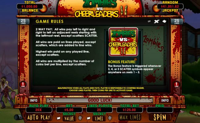 Palace of Chance featuring the Video Slots Zombies vs Cheerleaders II with a maximum payout of $5,000