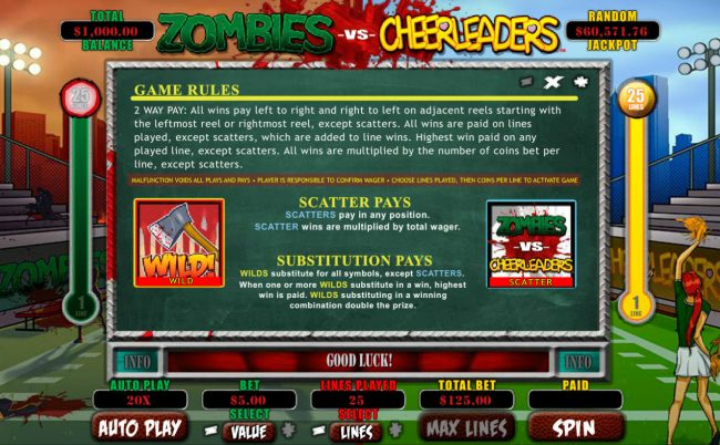Cherry Gold featuring the Video Slots Zombies vs Cheerleaders with a maximum payout of $5,000