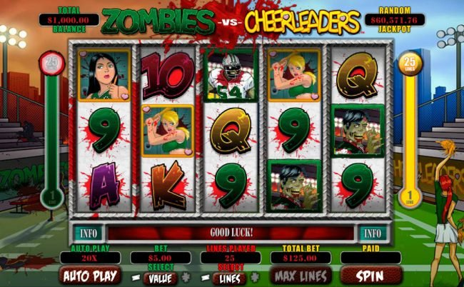 Play slots at Ignition: Ignition featuring the Video Slots Zombies vs Cheerleaders with a maximum payout of $5,000