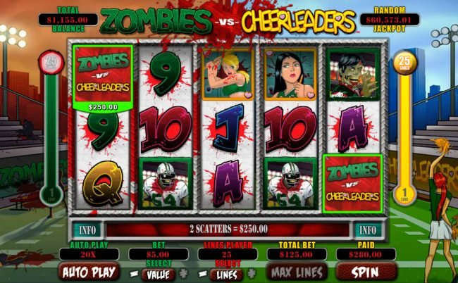 Casino Brango featuring the Video Slots Zombies vs Cheerleaders with a maximum payout of $5,000
